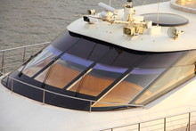 Windscreen Of A Motor Yacht With Navigation Equipment Close Up, Captain's Control Post - Travel, Navigation