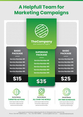A4 Marketing Flyer template style 1 with pricing table featured in light green