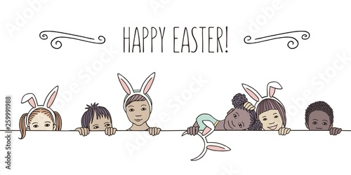 Fotografia Hand drawn illustration for Easter - diverse children with bunny ears, peeking b