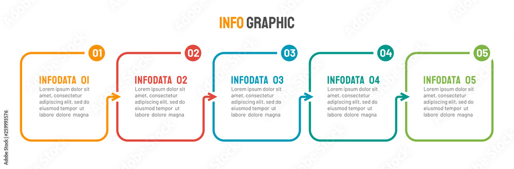 Fototapeta Thin line flat process . Business infographic with 5 options, arrows. Vector linear elements for presentation.