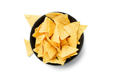 Tortilla Chips In A Black Bowl Isolated On White.