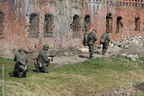 Reconstruction of the assault battle Fort number five in Konigsberg