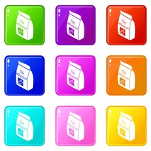 Tile Adhesive Icons Set 9 Colo...