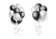 Vector realistic bunch of white and black helium balloons. Concept for promotion, ad, sale, flyer, greeting card, invitation, poster. Free space for the text. Three-dimensional illustration. Eps 10.