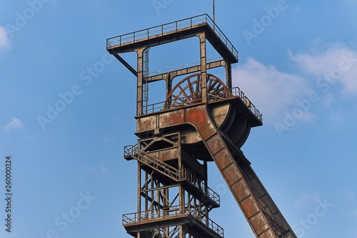 Obraz na plátne The shaft tower of a disused coal mine in Nordrhein-Westfalen, Germany