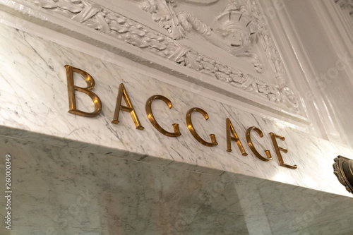 Baggage Sign in marble Wallpaper Mural