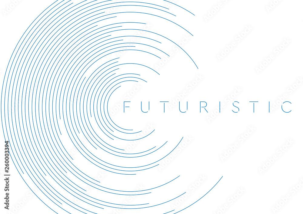 Fototapeta Blue circular lines abstract futuristic tech background