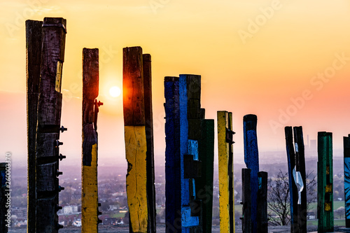 Foto  View over the Ruhr area with totem poles to Halde Haniel