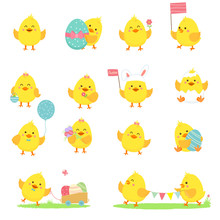 Set Of Vector Yellow Chickens
