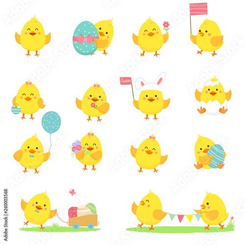 Cuadros en Lienzo Set of vector yellow chickens