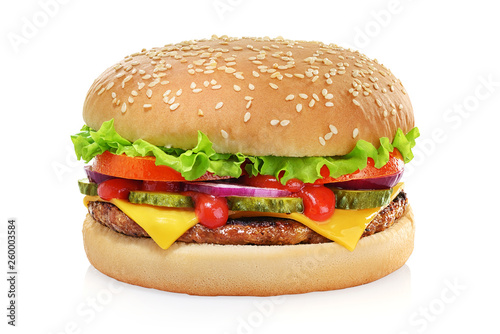 Classic cheeseburger isolated on white Fototapeta