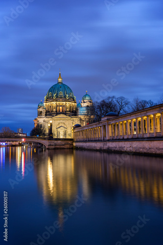 Fototapety, obrazy: Beautiful view of illuminated Berliner Dom (Berlin Cathedral) on Museum Island and reflections on the Spree River in Berlin, Germany, at dusk. Copy space.