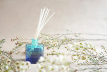 Blue Aroma Diffuser Bottle With Wooden Sticks