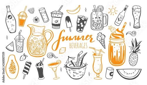 Slika na platnu Vector hand drawn set of Cold drinks, summer cocktails and beverages with fruits