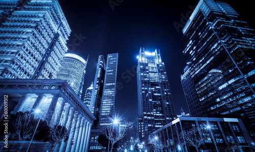 Foto auf Leinwand Shanghai Urban Nightscape Architecture Street and Fuzzy Car Lights..