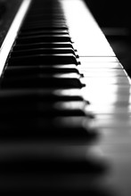 Piano Keys Close-up With Blurry Background, Black And White Photo