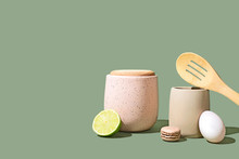 Styled Food Ingredients And Kitchen Utensils, Minimal And Colorful, Isolated With Copy Space