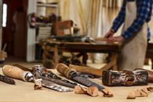 Carpenter Tools. Chisel Or Gouge For Wood On Carpenter Working At Workbench. Carpentry Workshop