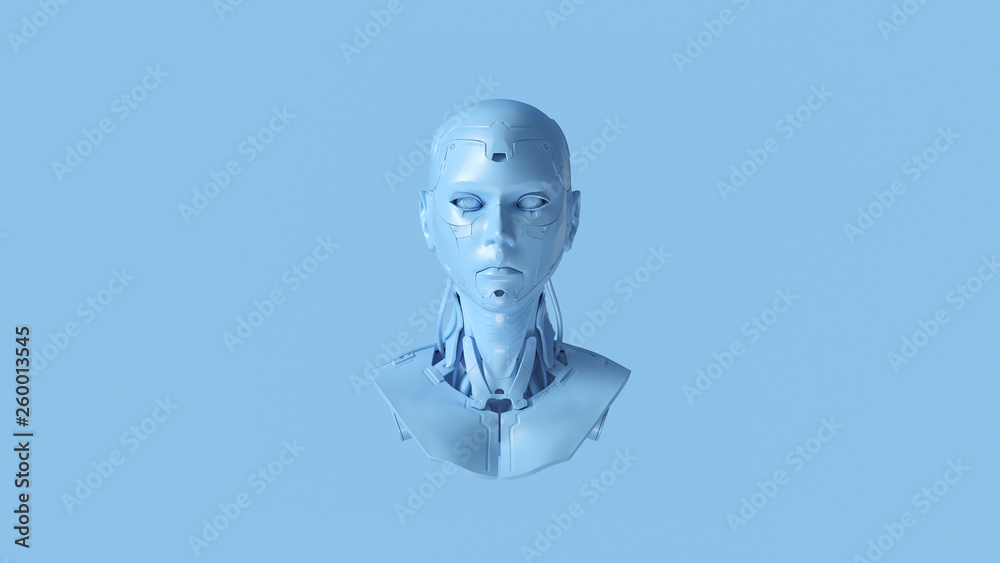 Fotografía  Pale Blue Cyborg Bust 3d illustration 3d render