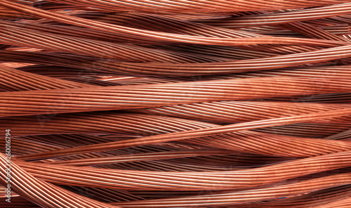 Fototapeta Stripped copper cables for further recycling in the metal industry - 3d illustration obraz