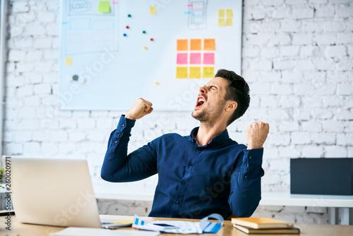 Fotografie, Obraz Ecstatic web developer screaming in joy and making gestures celebrating success