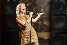 Beautiful Young Woman Singing ...