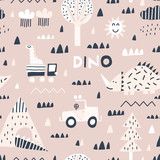 Fototapeta Dinusie - Baby seamless pattern with mountain, cars, dinosaurs and tropical plants. Vector texture in childish style great for fabric and textile, wallpapers, backgrounds. Scandinavian style.