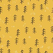 Forest Seamless Pattern. Scandinavian Style. Vector Illustration. Summer. Autumn.