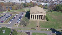 Aerial Pan Around Parthenon In Centennial Park, Nashville, Beautiful Fall Afternoon 4k