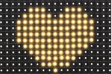 Dots Matrix Led Diplay With Illuminated Symbol Of Heart