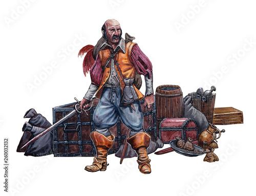 Fotografija  Pirate with the treasure. Mercenary with prey. Book illustration.