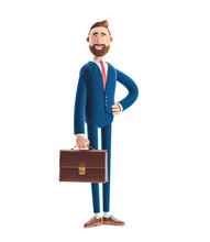 3d Illustration. Portrait Of A Handsome Businessman Billy Stand With Case.