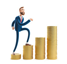 3d Illustration. Portrait Of A Handsome Businessman Billy With A Stack Of Money.