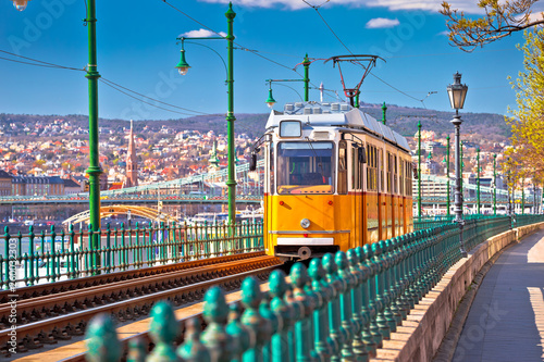 Photo Budapest Donau river waterfront historic yellow tramway view