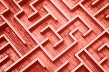 Coral Pink Toned Wooden Labyrinth Maze Puzzle