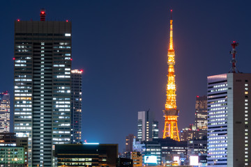 Tokyo tower and cityscape in Japan.