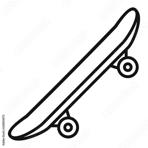 Side modern skateboard icon. Outline side modern skateboard vector icon for web design isolated on white background