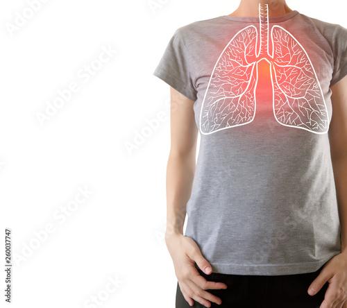 composite image of highlighted red injured lungs Tapéta, Fotótapéta