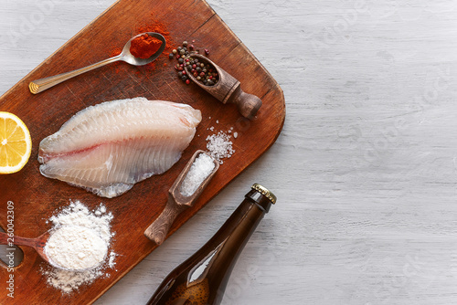 Fotografie, Obraz  set of ingredients for the preparation of the classic English dish fish and chip
