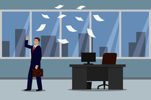 Angry Businessman Leaving His Office And Throwing Documents. Vector Illustration.