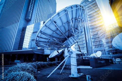 Cuadros en Lienzo Satellite Antenna and Urban Architecture..