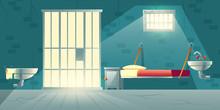 Dark Prison Cell Interior Cart...