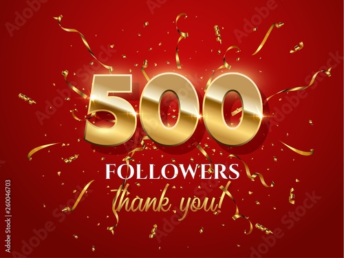Fototapeta  500 followers celebration vector banner with text