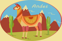Landscape In Oval Frame With Andes Mountains, Cacti And Llamas. Background For Zoo, Tourism, Souvenir, Card, Advertising. Stylized Animal Character Of South America. Lama, Vicuna, Alpaca, Guanaco.