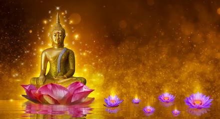 Kip Bude vodeni lotosov Buddha koji stoji na lotosovom cvijetu na narančastoj pozadini