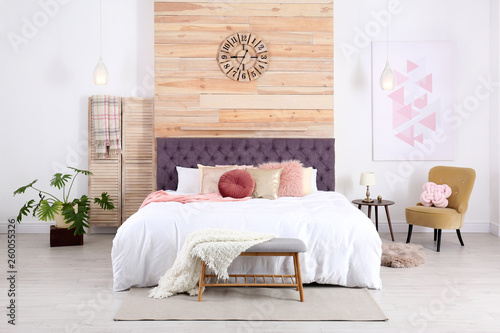 Photo  Modern interior design of cozy light bedroom
