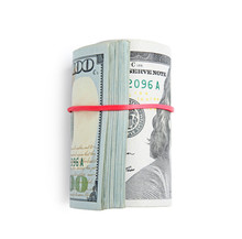 Roll Of Dollar Bills With Rubber Band On White Background, Top View