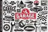 Car service and garage symbols, logos, emblems and icons collection. Auto transportation cars icons set. Car sales, repair, race, road, auto parts design elements.