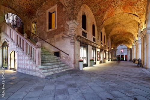 The medieval arcade in Piazza dei Signori. Vicenza, Veneto, Italy
