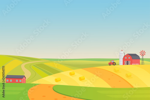 Photo sur Aluminium Vert chaux Autumn sunny eco harvesting farm landscape with agriculture vehicles, windmill, silage tower and hay. Colorful flat vector illustration.
